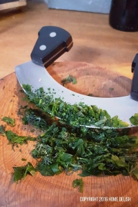 Chopping frozen herbs
