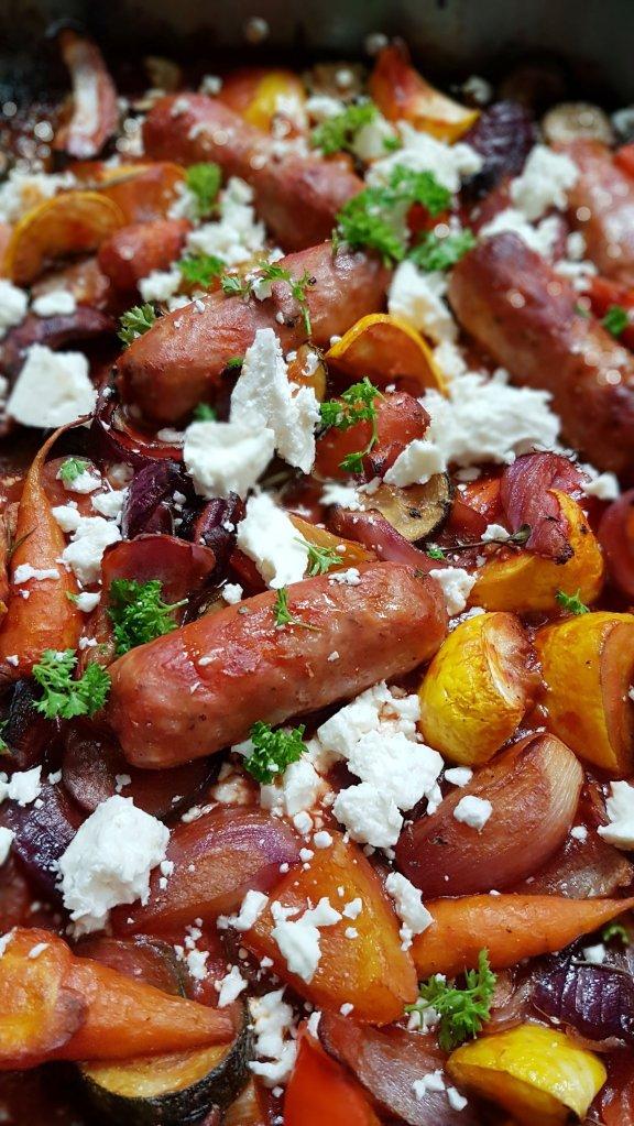 Allotment veg, sausage and feta tray bake